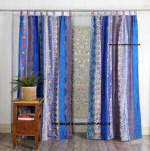2 PC Indian Blue Old Sari Patchwork Drape Window Decor Patola Silk Saree Curtain