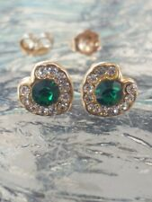 Emerald Round Cut And White Sapphire Heart Stud Earrings 14kt Solid Yellow Gold