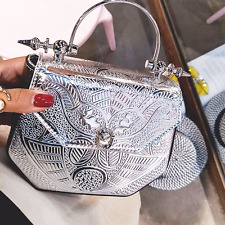 Luxury Leather Handbag Women Metal Handle Designer Crystal Embossed Bag Clutch