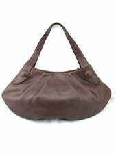 $950 BRUNO MAGLI Faye Vitello Bottalato Brown Leather Large Hobo Shoulder Bag