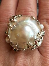 Sterling Silver Freshwater Pearl and Chrome Diopside Frog Critter Ring Size 7