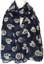 Panda Scarf Navy Blue Pandas Wrap Ladies Bear Bears Shawl Womens Gift Idea New