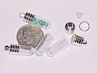 1 Tiniest short mini tube Glass bottle vials rice tiny charm little pendant cap