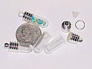 1 Tiniest short mini tube Glass bottle vials rice tiny charm little pendant cap*