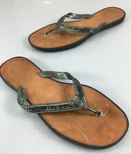 f7f906e7e Coach Womens 8.5 Laurel Pewter Silver Beaded Flip-Flops Thong Sandals