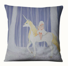 HORSE & WESTERN HOME DECOR GIFTS UNICORN & GIRL CUSHION COVER BEIGE BLUE 45cms