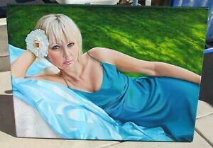 DINA BRUMBERG California Artist Beautiful Blonde with Flower in Her Hair oil