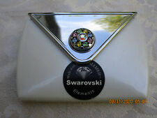 Purse Compact Mirror w/ Swarovski Crystals~White Pearlized