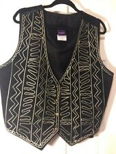 Resource Womans Leather  Western style Vest Black Size 2X