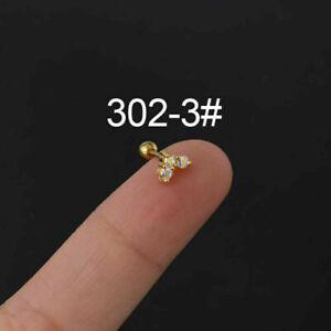 Colored Zircon Flowers Shaped Helix Women Ear Cartilage Stud Piercing Earrings