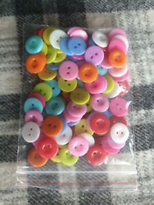 100 bulk 15mm mixed plastic sewing craft buttons 2 hole FREE Post