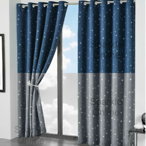 Glow In Dark Star Blackout Curtains Pair Ring Top Eyelet Thermal Ready Made Kids