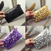 Women Glitter Sequins Handbag Party Evening Envelope Clutch Bag Wallet Purse YF