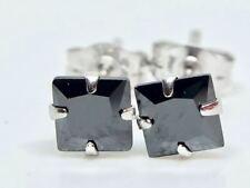 REAL 9K SOLID WHITE GOLD PRINCESS CUT BLACK DIAMOND EARRINGS!