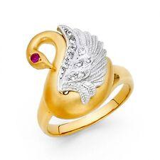 14K tricolor gold Swan Ring EJRG1701
