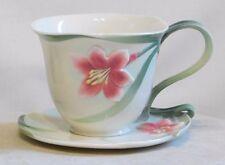 FRANZ PORCELAIN ~ Porcelain Cup & Saucer AUTUMN LILY DESIGN  FZ00032