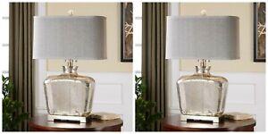 "PAIR MOLINARA 28"" MERCURY GLASS PLATED NICKEL TABLE LAMPS UTTERMOST LIGHT"