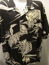 Tommy Bahama Mens Hawaiian Floral Brown with White Leaves Shirt Size XL