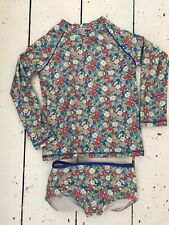 Mini Boden Girls Long Sleeve Swim Top And Bottoms. Floral Print VGC 7-8
