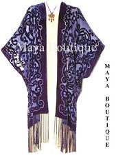 Maya Matazaro Caftan Kimono Burnout Velvet Art Nouveau Dark Blue Elegant!