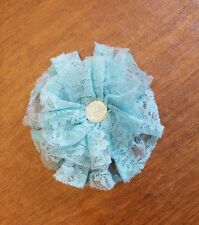 "Set of 2 Turquoise lace multi layer flower 4"" sew on applique with jewel center"