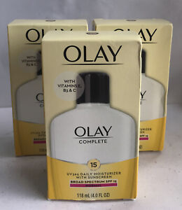 3 OLAY Complete UV 365 Moisturizer W Sunscreen SPF 15 Normal 4oz New