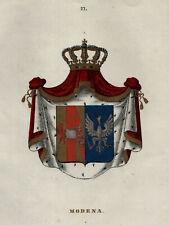 MODENA Emilia Romagna WAPPEN Original Farblithografie Tiedemann 1842