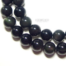 """15.8"""" Natural Black Obsidian Round Beads approx. 10mm Green/Red Flash #11248"""
