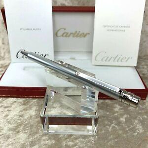 Authentic Santos de Cartier Ballpoint Pen Chrome Silver w/Case & Papers (Mint)
