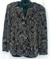 Vtg Cassada Womens Jacket Blazer Stretch Paisley Sparkle Beige Black Hook Eye XL