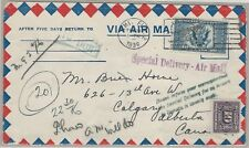 16¢ U.S. Airmail Special Delivery Ce1 1936 use with Canada postage due stamp use