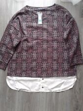 M&S COLLECTION BURGUNDY MIX PURE COTTON JUMPER SWEATER  TOP BNWT SIZE 14 RRP £25