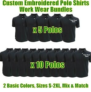 Personalised Embroidered Work Wear Polo Shirts Package Builders Garages Uniforms