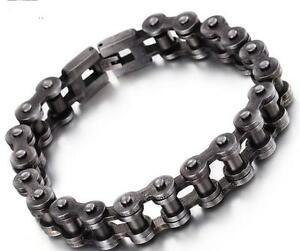 New Style Men Stainless Steel Vintage Black Bike Motorcycle Chain Bracelet 12mm