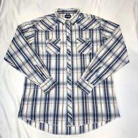 Wrangler Western Mens 2XL Long Sleeve Pearl Snap Shirt Blue Brown Plaid Cowboy