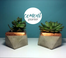 Concrete plant pot - handmade geometric cement gift planter with copper foil