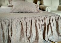 Bed Skirt/Flax 100%/Dust Ruffle/any drop length /White Rose Brown Natural Gray