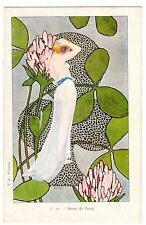 POSTCARD FRENCH ART NOUVEAU SEMI-NUDE WOMAN WITH CLOVER ARTIST-SIGNED