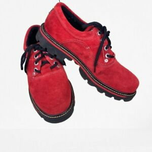 GBX Red Suede Mens Lace Up Shoes Size 10.5 EUC