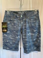 Wrangler Women's Rock 47 Blue Camouflage Jacquard Ultra Low Rise Short NWT