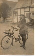 Postman Cyclist, April 1916, Beckford,? Worcestershire, Photograph Postcard