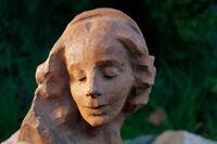 reizende Holzmaske Büste Wandmaske Schnitzerei Jugendstil Künstlerarbeit France