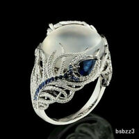 Women Blue Peacock Feather Moonstone Silver Wedding Anniversary Ring Gift