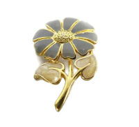 Vintage Grey Gold Floral Flower Brooch Pin Romantic Gift
