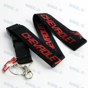Lanyard Neck Keychain Quick Release RED letter For Chevrolet Chevy Bowtie Emblem