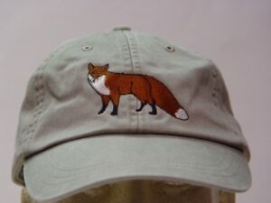 RED FOX WILDLIFE HAT WOMEN MEN EMBROIDERED BASEBALL CAP Price Embroidery Apparel