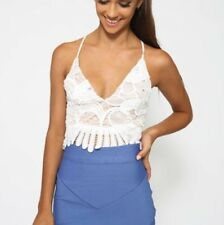 BNWT White Lace detail Crop, Morning Mist, 8