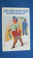 Risque Comic Postcard 1925 Silk Stockings Garter BBW Large Lady Boobs Police