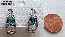 PAUA Shell abalone Earrings Heart Shaped Wheeler Mfg Fashion Jewelry 972 paj New