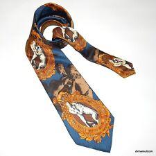 Gianfranco FERRE Vintage Silk Tie Renaissance Man Lion Boxing Belt Blue 10cm